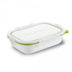 Lunch Box Rectangle S BLACK-BLUM, 715ml, bílý/zelený